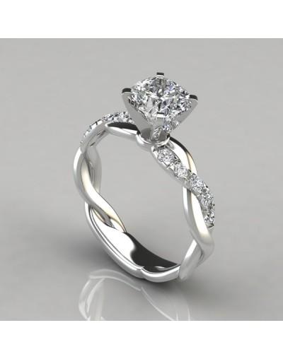 Anillo de diamante y plata retorcido