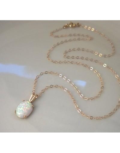 Collar Vintage Natural con piedra preciosa ópalo blanco
