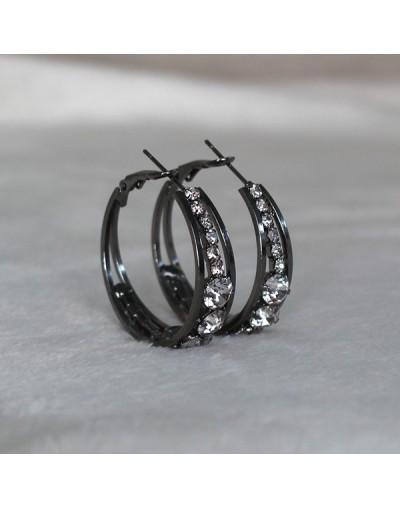 Pendientes de aro de plata con cristales
